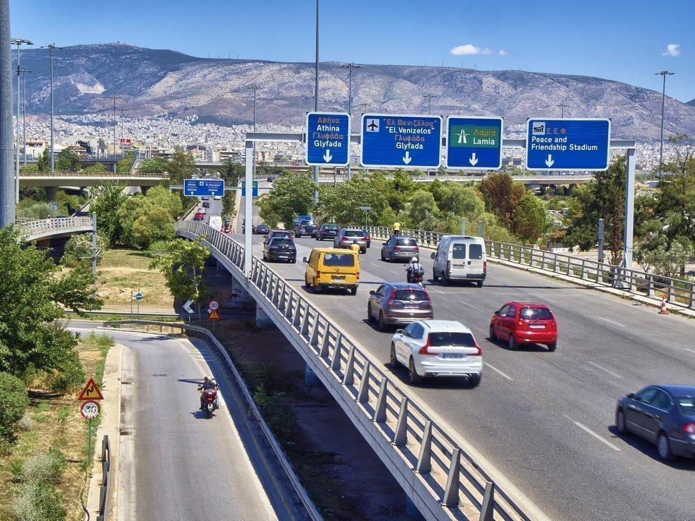 Tráfico a la entrada de Atenas