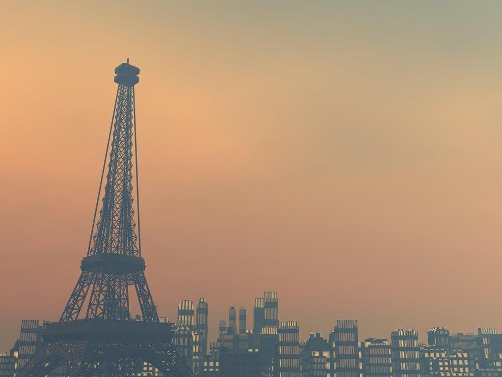 Imagen ciudad de París con torre Eiffel y contaminación